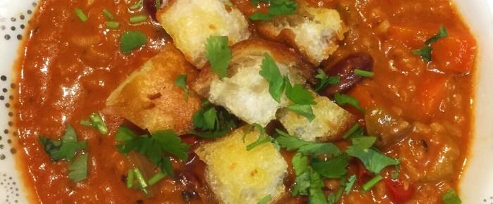 ブルーベルトウイークリー:カリブ海豆とライスのスープ、ベジタリアン・レシピのページ