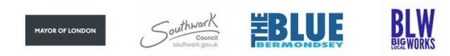 Logos of partners: Mayor of london, southwark council, The Blue Bermondsey and BIg  Local Works