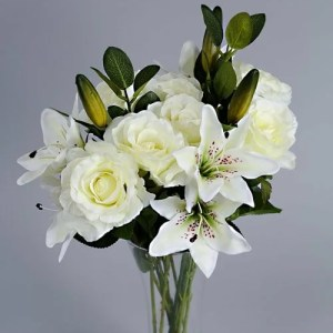 Artificial White Roses silk flowers 2