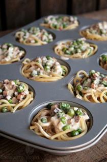 Spaghetti Muffins Carbonara vegan