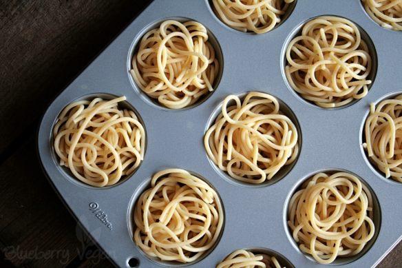 Spaghetti in der Muffinform