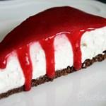 Vegan Cream Cheese Cake with Crispy Base and Fruit Sauce