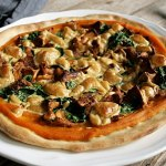 Pumpkin Pizza with Chanterelles and Spinach