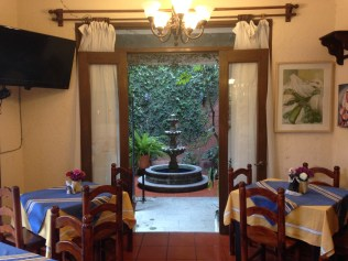 Sitting in the Hotel Maela restaurant
