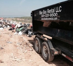 Dumpster for rent drops off at Washington County, MD landfill