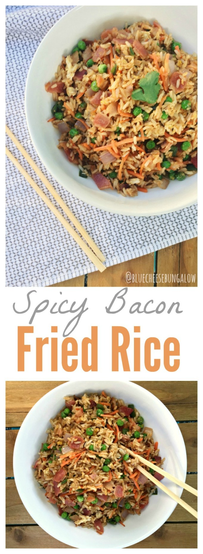 One-Pot Spicy Bacon Fried Rice Recipe from Blue Cheese Bungalow