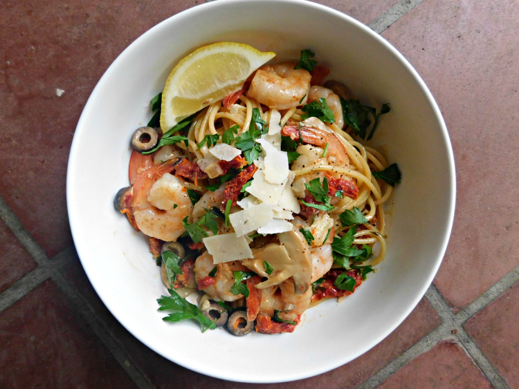 This easy shrimp pasta dish is the perfect weeknight dinner! Much lighter and healthier than shrimp scampi or alfredo!