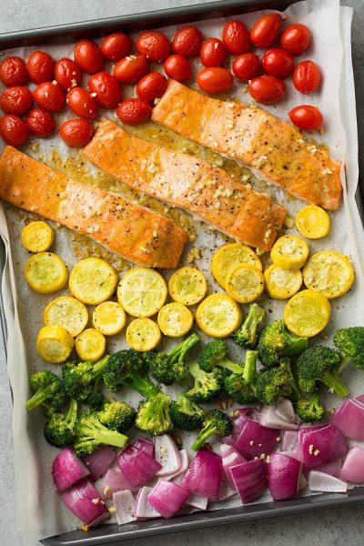 Sheet Pan Honey Mustard Salmon and Rainbow Veggies | 10 Best Sheet Pan Dinners