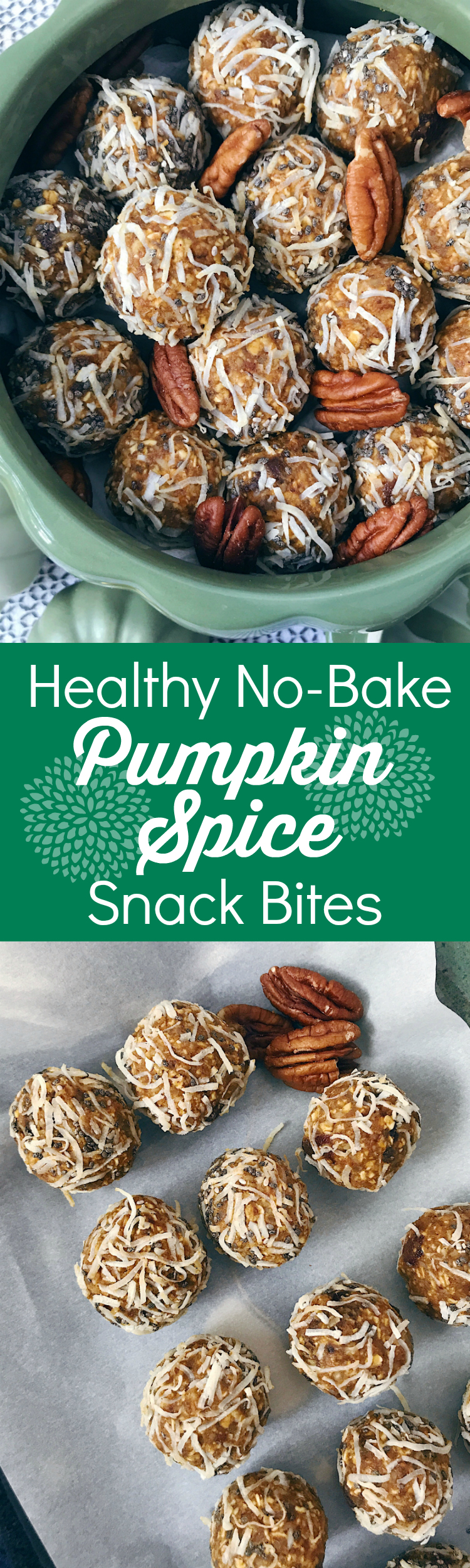 No-Bake Pumpkin Spice Snack Bites are a healthy grab-and-go breakfast or snack that is chalk full of fiber, whole grains and your favorite fall flavors.
