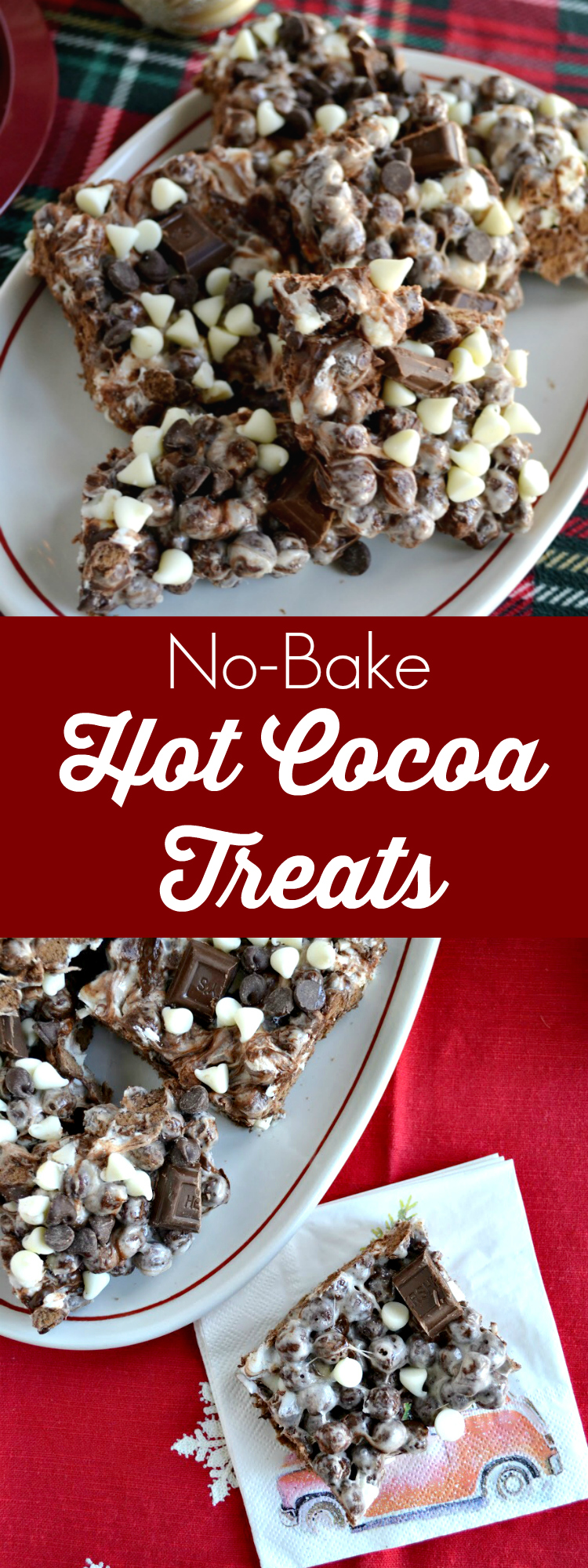 No-Bake Hot Cocoa Treats are an easy holiday dessert and the perfect way to get your cold weather fix no matter the time of year! Kids and grown-ups alike love these chocolate cereal treats. Give them a try at your next fall or winter gathering.