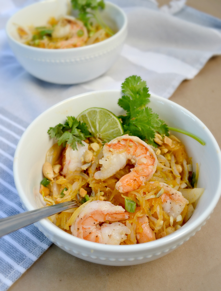 Spaghetti Squash Pad Thai with Shrimp is a healthy twist on a classicThai dish that the whole family will love. This easy to follow dinner recipe is flavorful, hearty and delicious!