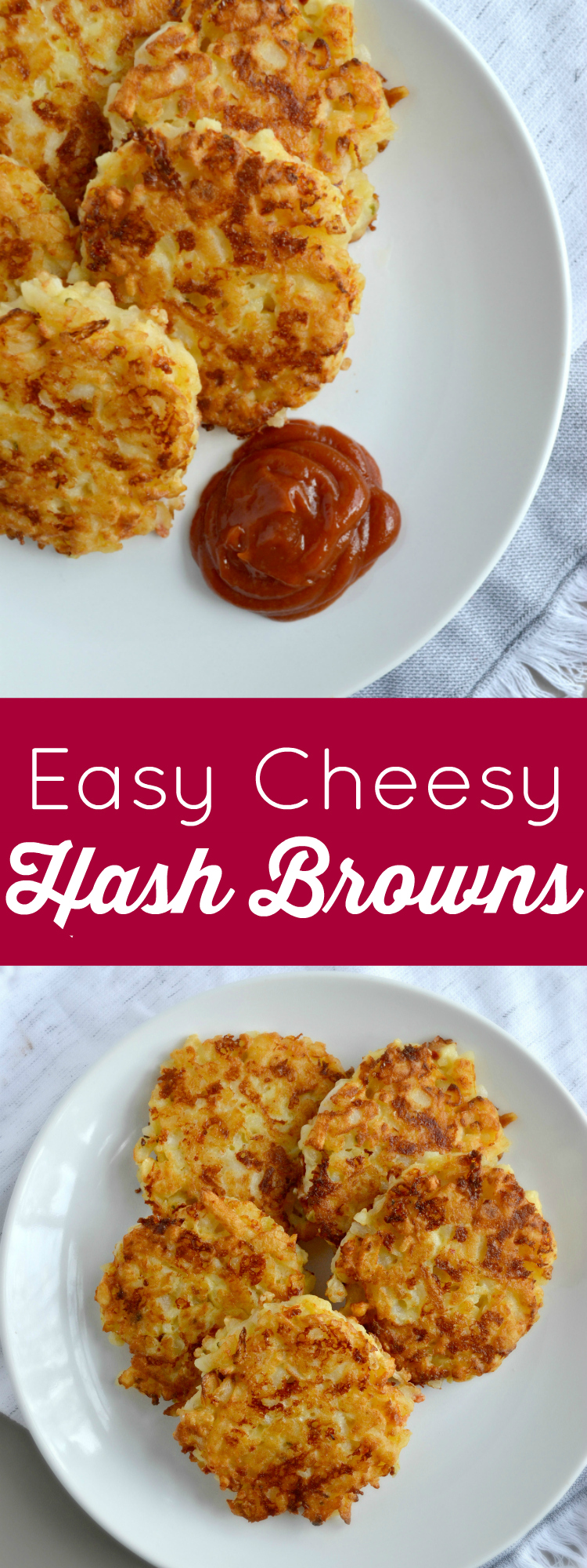 Cheesy Hash Brown Patties are perfect for breakfast and brunch! These crispy, cheesy rounds taste homemade but they are easy to make thanks to a special shortcut!