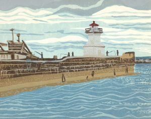 Linoleum Relief Print for Sale - Cape Tormentine, NB