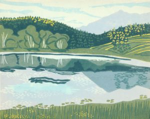 Linoleum Block Relief Print for Sale - Wapiti Lake, Kootenays, BC