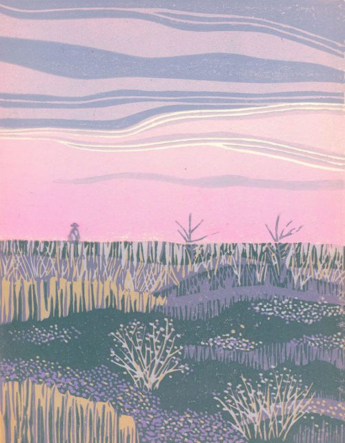 Linoleum Block Relief Print for Sale - Grasllands Nat. Park, SK