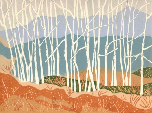 Linoleum Block Relief Print for Sale - Autumn Aspens, Warfield, BC