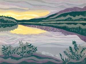 Original Linoleum Relief Art Print for sale - Dusk at Box Lake