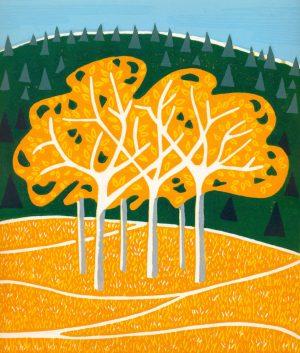 Original Linoleum Relief Art Print for sale - Coquihalla Autumn