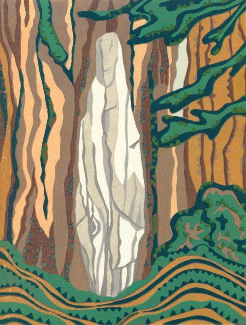 Original Linoleum Relief Art Print for Sale - Driftwood Madonna