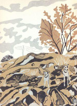 Original Linoleum Relief Art Print For Sale - Mountain Minstrel