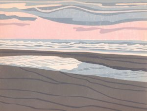 Original Linoleum Relief Art Print for Sale - Beachside, Oregon Coast