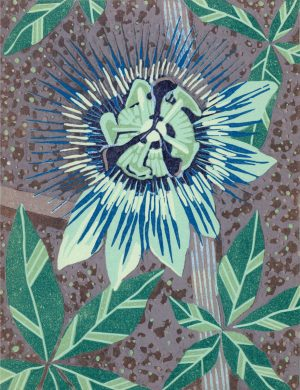 Original Linoleum Relief Art Print for Sale - Passion Flower