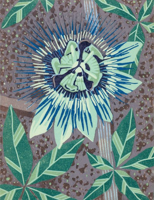 Original Linoleum Relief Art Print for Sale - Passion Flower