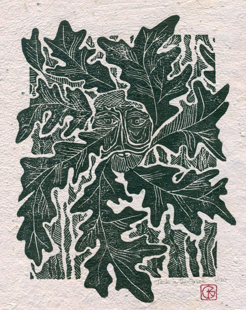 Original Linoleum Relief Art Print for Sale - Jack in the Green
