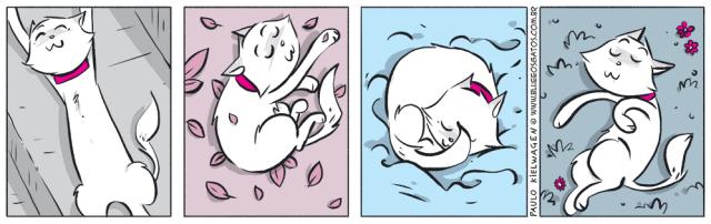 Tira em quadrinhos do Blue. Branco está deitado dormindo nas quatro estações do ano.