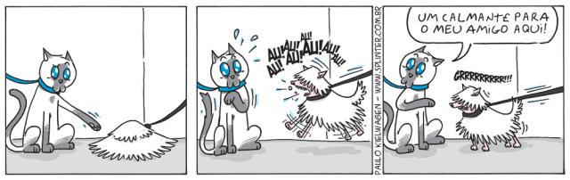 Tira em quadrinhos do Blue no pet shop / veterinário. Blue olha desconfiado para um montinho de pêlos. Quando o tapete se move e começa a latir, Blue o oferece um calmante.
