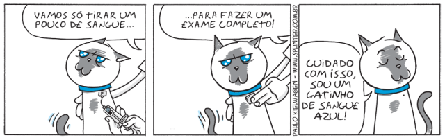 Tira em quadrinhos do Blue no pet shop / veterinário. Enquanto a veterinária tira sangue, Blue diz para tomar cuidado que o sangue dele é azul.