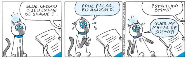 Tira em quadrinhos do Blue no pet shop / veterinário. Blue está prestes a receber o resultado dos seus exames e com certeza está nervoso.