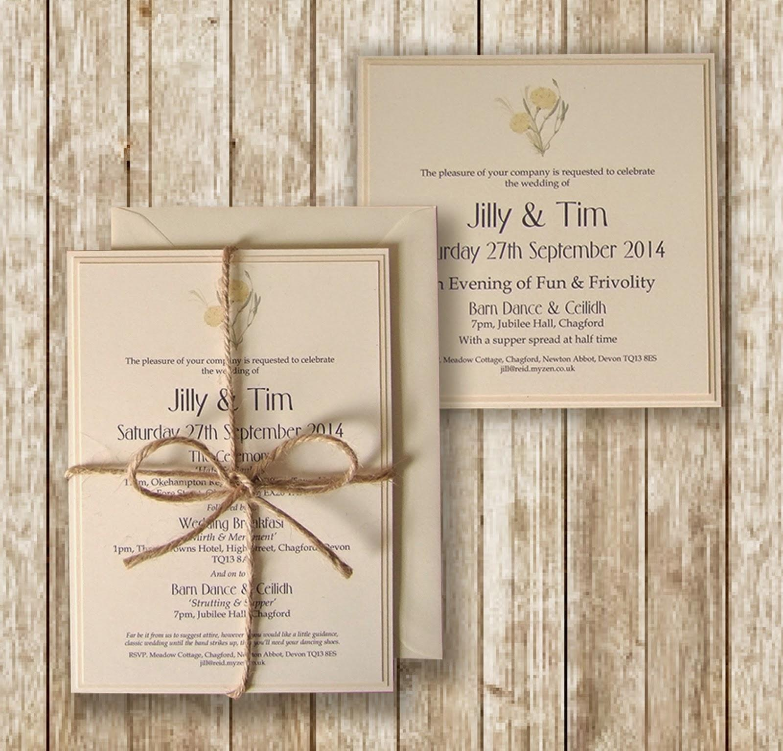 Knots And Kisses Wedding Stationery Rustic Lemon Cream