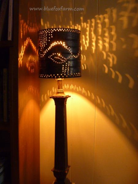 punched tin lamp shades from