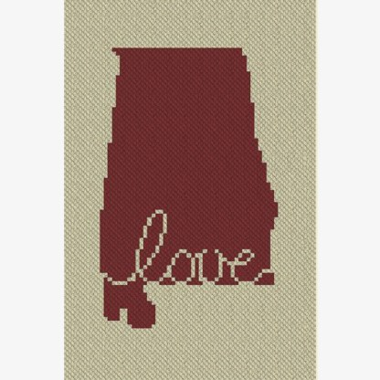 Alabama Love C2C Crochet Pattern Corner to Corner Graphghan Blue Frog Creek