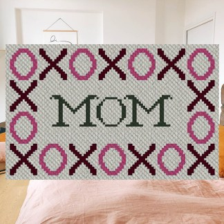 Hugs and Kisses Mom C2C Corner to Corner Crochet Pattern
