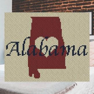 Heart Alabama C2C Corner to Corner Crochet Pattern