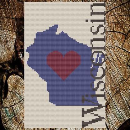 Heart Wisconsin Cross Stitch Chart