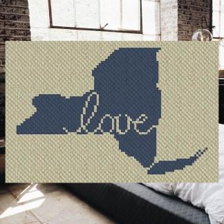 New York Love Corner to Corner C2C Crochet Pattern