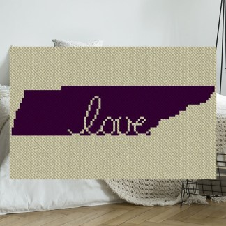 Tennessee Love C2C Afghan Crochet Pattern Corner to Corner Graphghan Cross Stitch Blue Frog Creek 800B