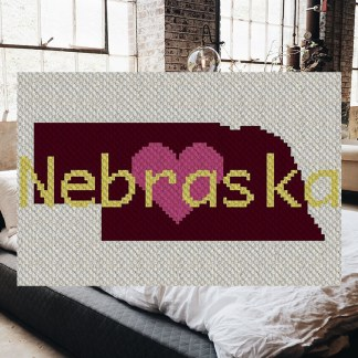 Heart Nebraska C2C Corner to Corner Crochet Pattern