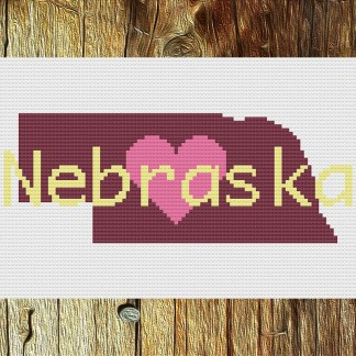 Heart Nebraska Cross Stitch Chart