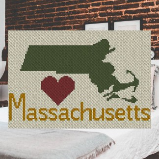 Heart Massachusetts C2C Corner to Corner Crochet Pattern