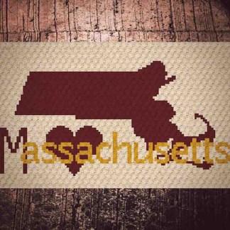 Heart Massachusetts C2C Crochet Pattern