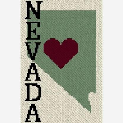 Heart Nevada C2C corner to corner crochet pattern