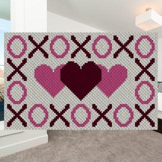 Hugs Kisses and Hearts C2C Corner to Corner Crochet Pattern
