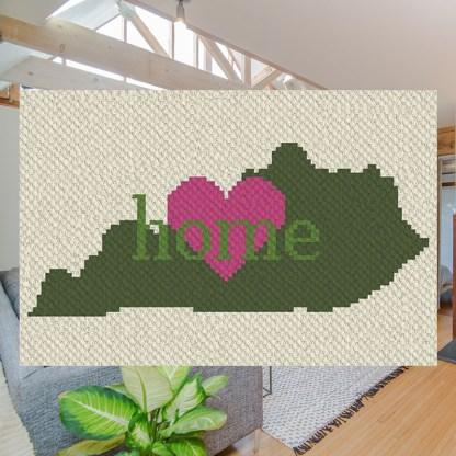 Kentucky home C2C Corner to Corner Crochet Pattern