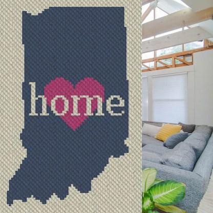 Indiana Home C2C Afghan Blanket Corner to Corner Crochet Pattern