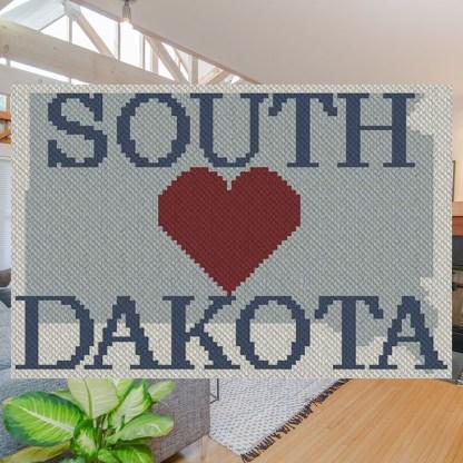 Heart South Dakota C2C Afghan Crochet Pattern Corner to Corner Blanket Cross Stitch Graphghan Blue Frog Creek