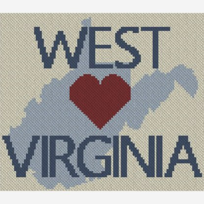 Heart West Virginia C2C Afghan Crochet Pattern for Corner to Corner or Graphghan or CrossStitch Blue Frog Creek